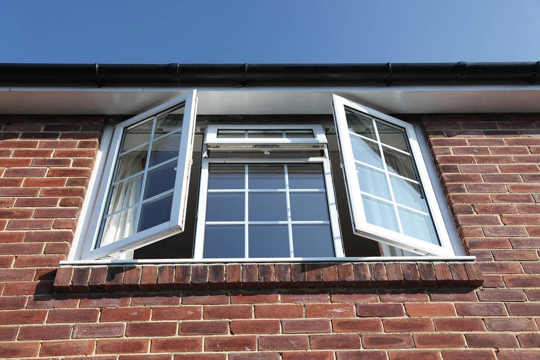 Exterior view of open window